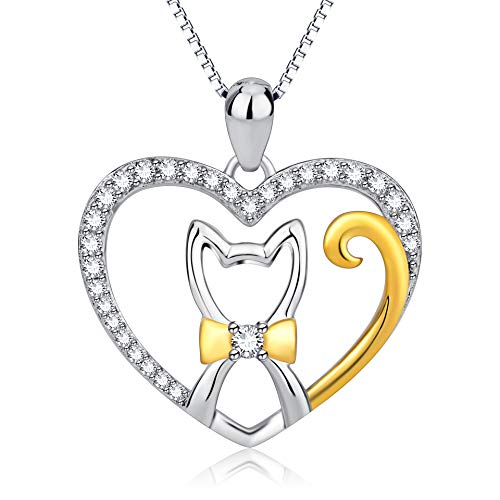 (925 Sterling Silver Cat Necklace Heart Necklace - Two Tone Lovely Kitty Cubic Zirconia Pendant Necklace Jewelry for Girls)