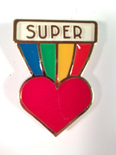 Hallmark SUPER HEART Valentine Rainbow Lapel Pin Vintage Brooch - Lapel Pin Signed