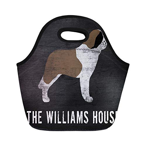 Ablitt Lunch Bags Dog Saint Bernard Silhouette Animals Pets Rustic Name neoprene lunch bag lunchbox tote bag portable picnic bag cooler bag