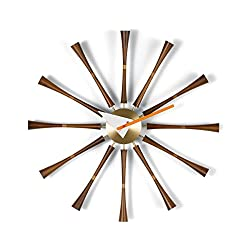 Vitra Mid Century Modern Metal and Wood Spindle Wall Clock by George Nelson