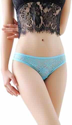 b25150f31233 Drindf Women Thongs Sexy Lace Panties G-String Half Back Coverage Panties  Underwear