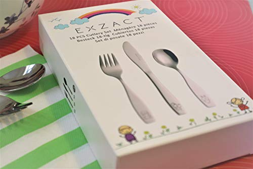 Exzact Stainless Steel 18 PCS Childrens Flatware/Cutlery Set - 6 x Forks, 6 x Safe dinnerknives, 6 x Dinner Spoons - Dog Cat Bunny Design by Exzact (Image #6)