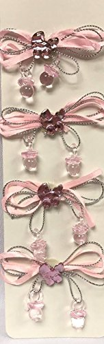 Bows Bassinet - 6 Baby Shower Pink Bow Charm Ribbon with Bassinet Motive Favor Decoration