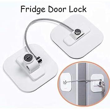 Refrigerator Door Lock w// Padlock Fridge Cabinet Home Office School Child Proof