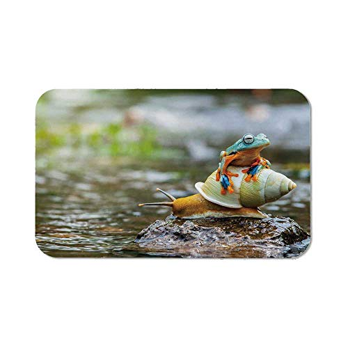 Funny Personalized Mouse Pad,Cute Colorful Frog Above The Snail Riverscape Water Rock Mollusks Amphibian Animals for Work Game,11.81''Wx27.56''Lx0.08''H