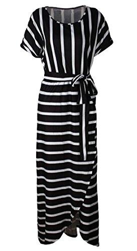 Jaycargogo Cou O Rayures En Vrac Femmes Imprimer Robes Maxi Partie À Manches Courtes Noir