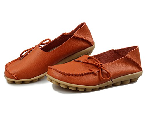 Auspicious beginning Ladies Comfy Work Leather Moccasins Loafers Flats Shoes Orange xNK3ZW