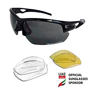 VeloChampion Tornado Sports Sunglasses - Black with 3 Sets of Interchangeable Lenses and Pouch