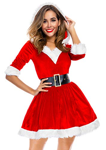 Cuteshower Women's Mrs. Claus Costume Christmas Santa Outfit Cosplay Dress - http://coolthings.us