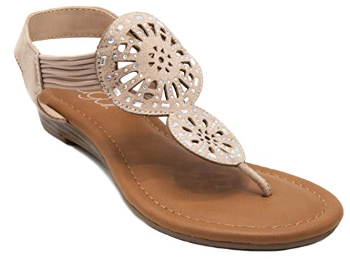 (Sugar Women's Catamaran Sandal with Cutouts Rhinestones and Bungee Sand Microsuede 9.5)