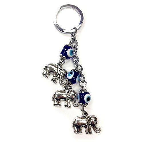 Evil Elephants (CF76881293, Evil Eye 3 Elephant Key Chain 5.5 inches long, hand made in Turkey.)