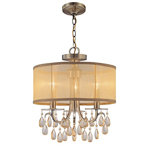 Crystorama 5623-AB Crystal Accents Three Light Mini Chandeliers from Hampton collection in Brass-Antiquefinish, - Brass 3 Light Chandelier
