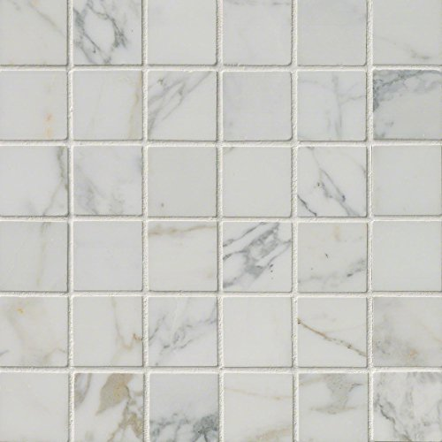 M S International Calacatta Gold 12 In. X 12 In. X 10mm Polished Marble Mesh-Mounted Mosaic Tile, (10 sq. ft., 10 pieces per case)