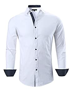 Joey CV Mens Casual Button Down Shirts Long Sleeve Regular Fit
