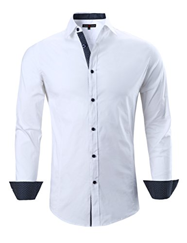 (Joey CV Mens Casual Button Down Shirts Long Sleeve Regular Fit Men Shirt(White,XLarge))