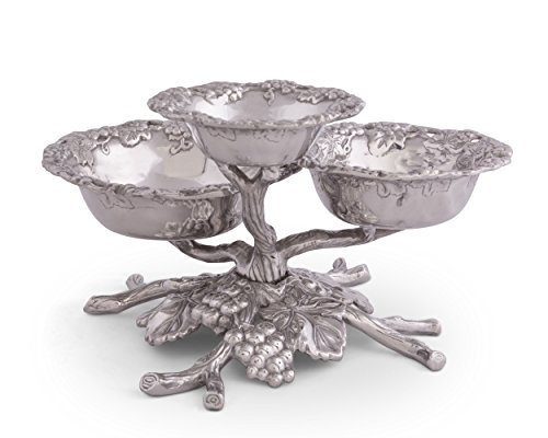 Cake Stand Grape (Arthur Court Designs Aluminum Grape Tiered 3-Bowls)
