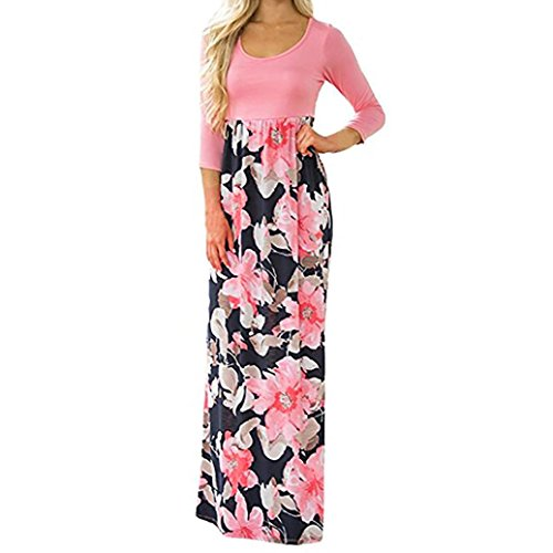 Price comparison product image BCDshop Women Casual Floral Long Sleeve Boho Maxi Dresses with Pockets High Waist (Pink,  S)