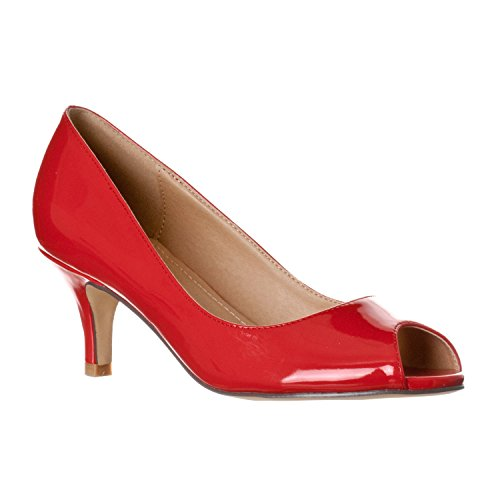 Peep Pumps Kitten Heel Open Women's Red Toe Patent Lydia Riverberry 6tZPx