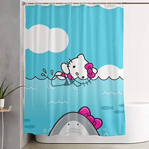 WSXEDC Shower Curtain Hello Kitty and Shark Waterproof Curtain 60 X 72 Inches