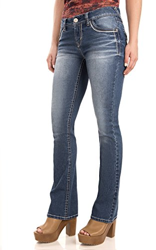 WallFlower Women's Juniors Classic Legendary Stretch Bootcut Denim Jeans in Keller - Rhinestone Pants Jeans
