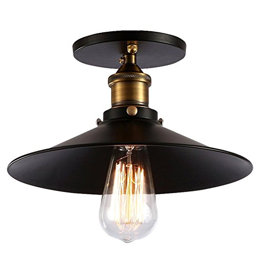 (Vintage Ceiling Lamp Black E27 Industrial Metal Light Shade Country Style Perfect for Coffee Study Dining Room Kitchen Home Decoration Ceiling-Mounted Luminaire)