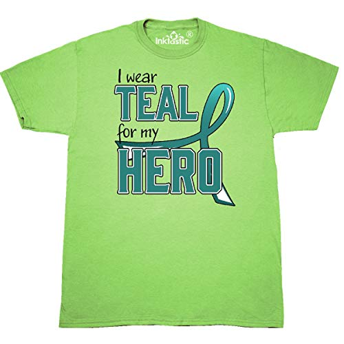 inktastic - I Wear Teal for My Hero - Ovarian T-Shirt Small Key Lime 31cd1