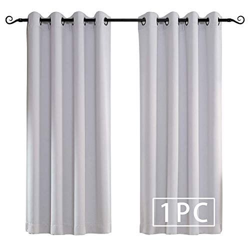 MYSKY HOME Solid Grommet top Thermal Insulated Window Blackout Curtains, 52 x 63 Inch, Greyish White, 1 Panel (Cast Members Of Fifty Shades Of Grey)