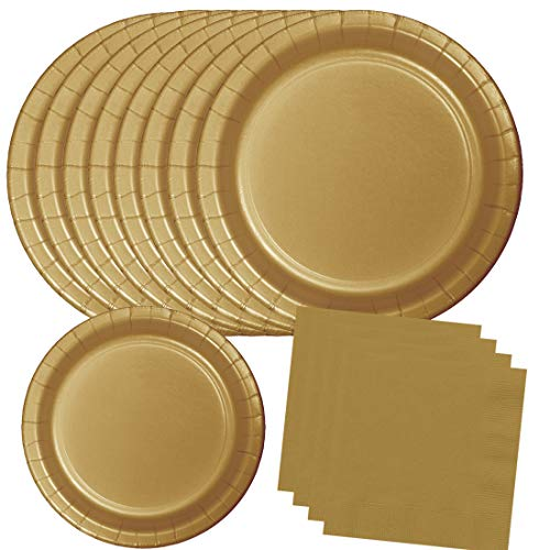 Gold Party Paper Plates and Napkins, Disposable Party Supplies 60 Piece Set, 180 Total Pieces