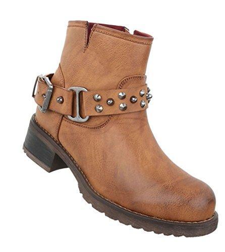 Boots Stiefeletten Schuhe Used Optik Camel Damen xzI5dCqqw