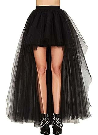 Coswe Women's High Waist Black Steampunk Gothic Asymmetrical Swallowtail Skirt M-5XL