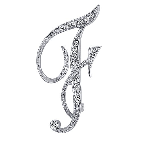Liasun 26 Letters Brooches Silver Plated Metal Pins-Clear Crystal Initial Breastpin (1pcs-F) ()