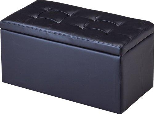 収納スツール ワイド ブラック SL-3829 【スツール 大きい ブラック イス 収納ベンチ 二人掛け オットマン】 B00EUS2DXU