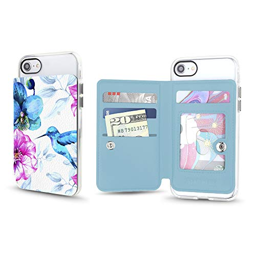 Gear Beast Universal Cell Phone Stick On Slim Wallet Card Holder Phone Pocket Case for iPhone, Galaxy, Android & Other Smartphones with Four Credit Card and Cash Slots Including Transparent ID Pocket