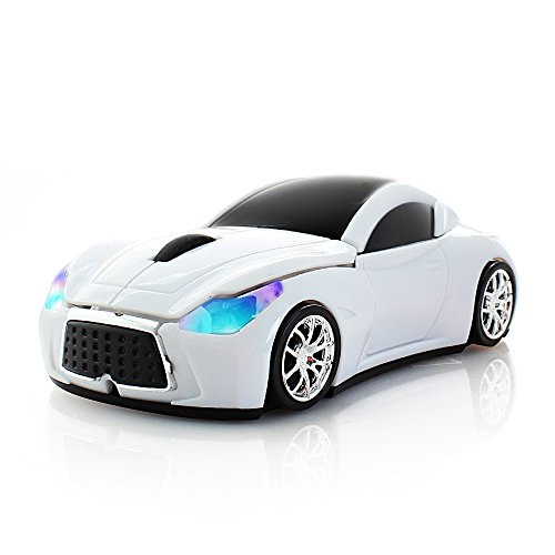 - Usbkingdom Cool Sport Car Shaped 2.4GHz Wireless Mouse Optical Cordless Mice with USB Receiver for PC Laptop Computer 1600DPI 3 Buttons White