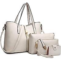 SIFINI Women Fashion Synthetic Leather Handbags+Shoulder Bag+Purse+Card Holder 4pcs Set Tote