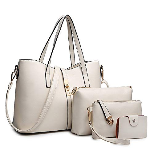 SIFINI Women Fashion PU Leather Handbag+Shoulder Bag+Purse+Card Holder 4pcs Set Tote (white)