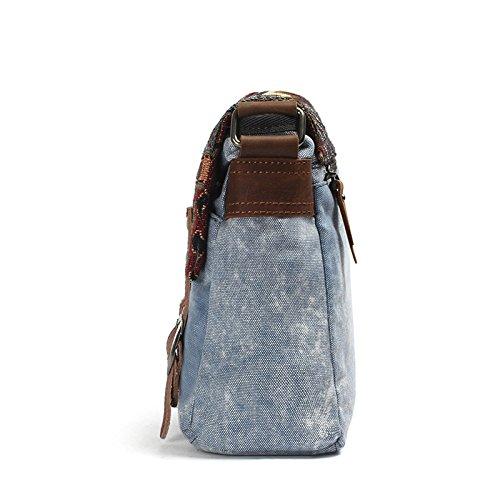 mefly el nuevo estilo folk Bolso Bandolera Messenger Bag Bolsa de lienzo caratteristiche antiusura de hombres y mujeres, verde caqui azul