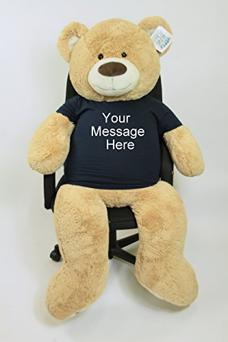- Big Plush 5ft Bear Dressed in Personalized Tshirt, Giant 5 Foot Teddy Bear Premium Soft, Customized with Your Message, Unique Impressive Gift for Birthday, Love or Any Event, Hand-Stuffed in The USA