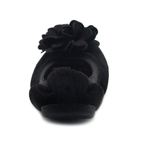 Ollio Womens Shoes Faux Suede Decorative Flower Slip On Comfort Light Ballet Flat Black XYovmx