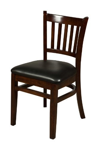 Oak Street Manufacturing WC102WA-BLK Solid Walnut Wood Frame Verticalback Dining Chair with Black Vinyl Seat, 18
