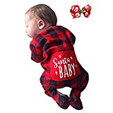 0-24 Months Toddler Infant Baby Boys Girls Christmas Santa Xmas Plaid Letter Print Romper Jumpsuit Pajamas Party Outfits Gifts (Red, 6-12 Months)