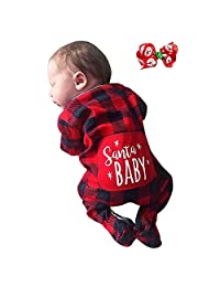 0-24 Month Toddler Infant Baby Boys Girls Christmas Santa Xmas Plaid Letter Print Romper Jumpsuit Pajamas Outfits Gifts