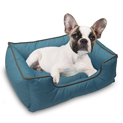 XIAOO Pet Bed for Dogs and Cats, Ultra-Soft Warm Pet Bed Sofa Water Resistant with Removable & Washable Cover,Up to 25lbs-Blue (Waterproof Sofa)