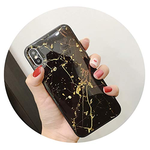 Luxury Gold Foil Bling Marble Phone Case for iPhone X XS Max XR for iPhone 7 8 6 6s Plus Case,Black