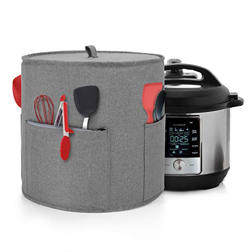 Yarwo Dust Cover for 8 qt Instant Pot, Cover with Pockets and Top Handle for 8 Quart Pressure Cooker and Kitchen Tools, Gray