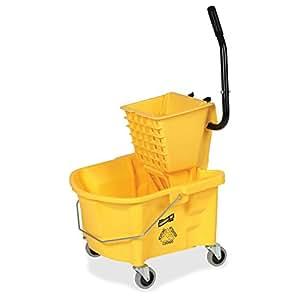 Genuine Joe GJO60466 Splash Guard Mop Bucket/Wringer, 6.50 gallon Capacity, Yellow