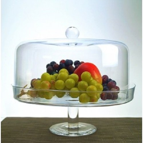 Glass Footed Cake Stand Pastry Cake Display Cover Serving Plate Dome high 27cm lid Cover Clear Transparent royal glassware