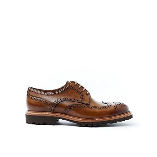 British Passport Scarpa Stringata Derby con Decorazione Wing Cap di Colore Marrone. Wing Cap Derby Brown Goodyear. Uomo.