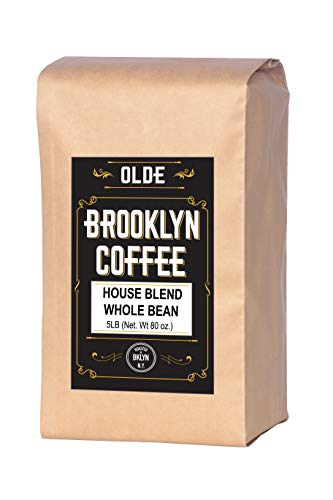 HOUSE BLEND Whole Bean Coffee- 5LB Bag For a Light-Medium Roast Coffee - Breakfast, House Gourmet, Italian Espresso-Roasted in New York