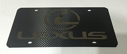 Lexus Black Carbon Fiber Vinyl Wrap on Chrome Stainless Steel Front License Plate - Lexus License Plate